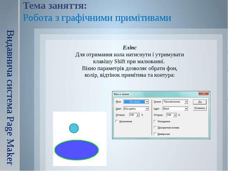 Тема заняття: Робота з графічними примітивами Видавнича система Page Maker Ел...