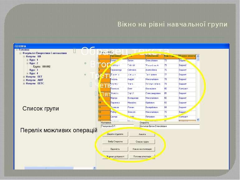 Вікно на рівні навчальної групи Список групи Перелік можливих операцій