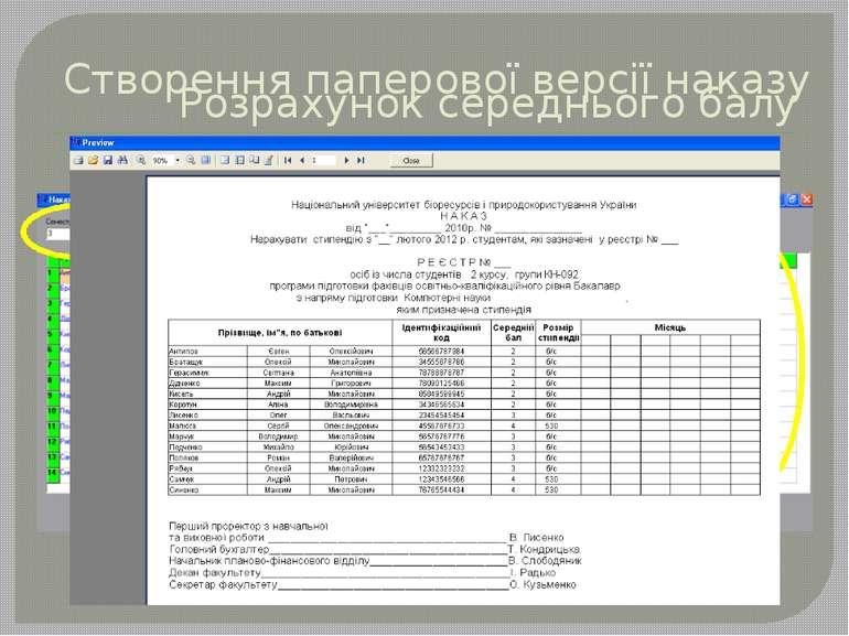 Розрахунок середнього балу Створення паперової версії наказу Вибір потрібного...