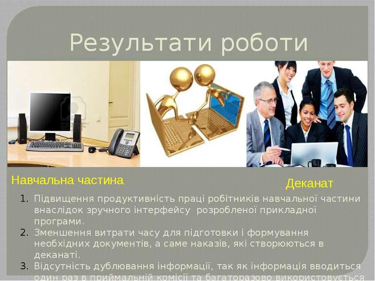 Результати роботи Навчальна частина Деканат Підвищення продуктивність прaці р...