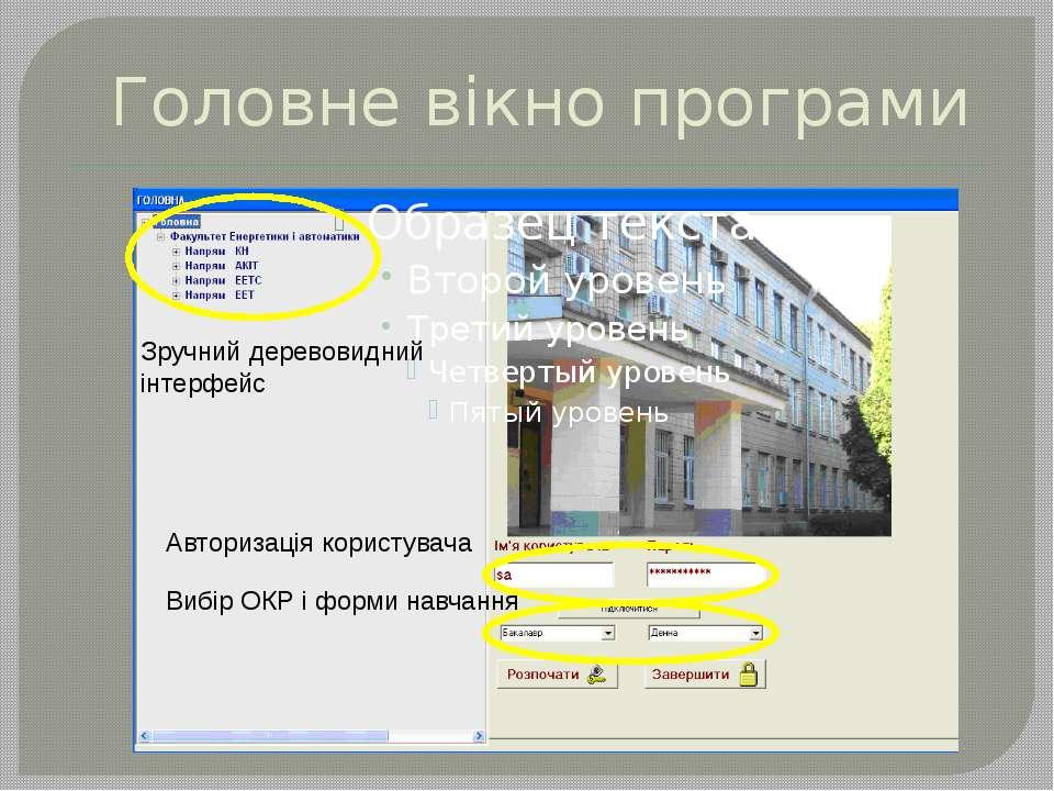 Головне вікно програми Авторизація користувача Вибір ОКР і форми навчання Зру...
