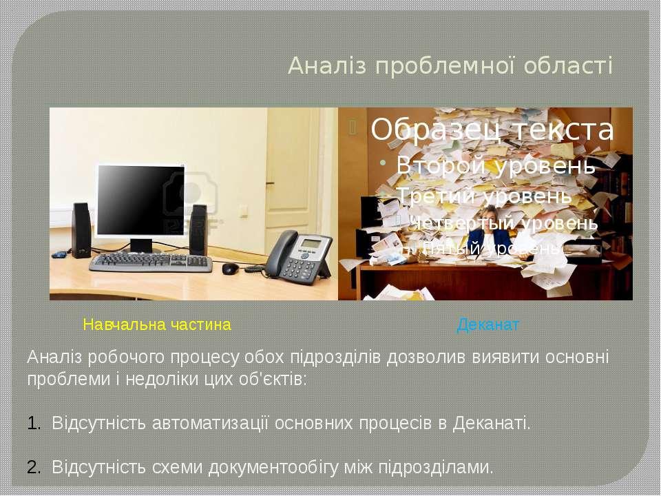 Аналіз проблемної області Навчальна частина Деканат Аналіз робочого процесу о...