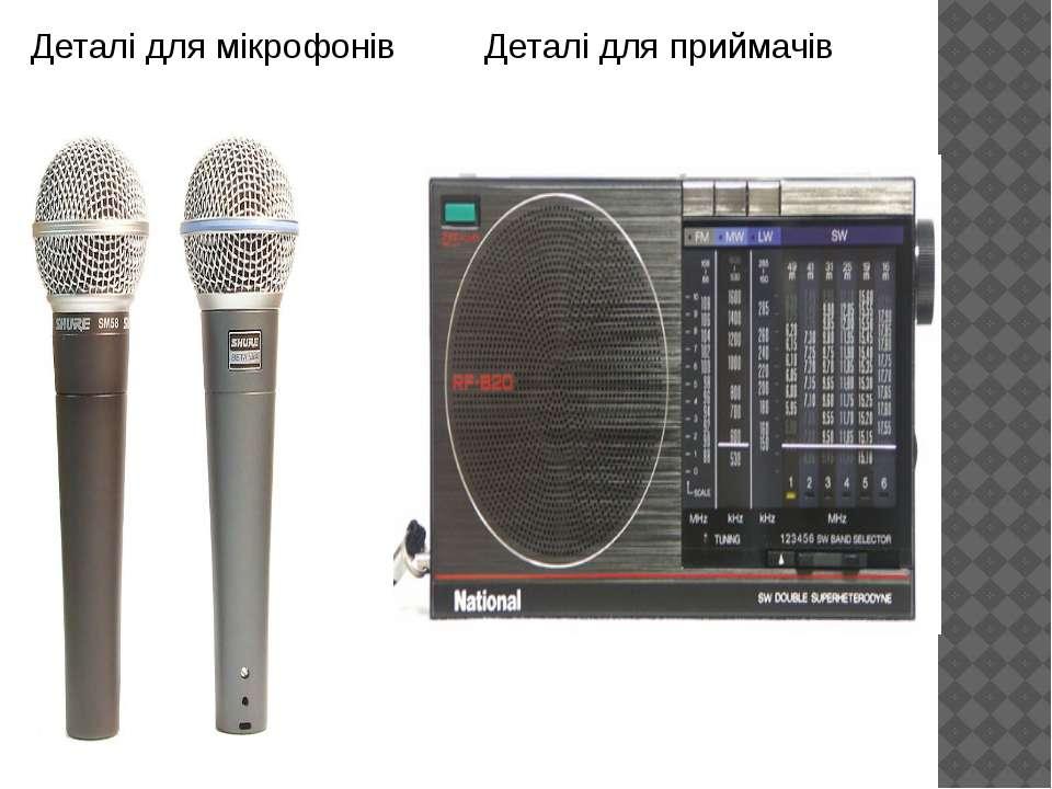 Деталі для мікрофонів Деталі для приймачів