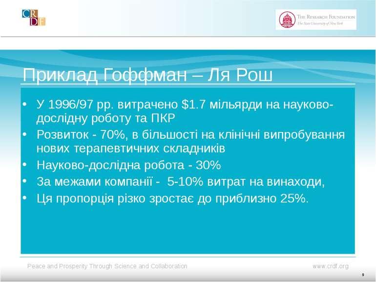 Приклад Гоффман – Ля Рош У 1996/97 рр. витрачено $1.7 мільярди на науково-дос...
