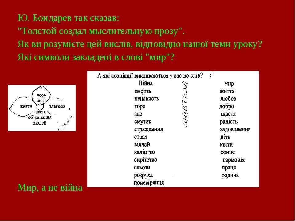 """Ю. Бондарев так сказав: """"Толстой создал мыслительную прозу"""". Як ви розумієте ..."""