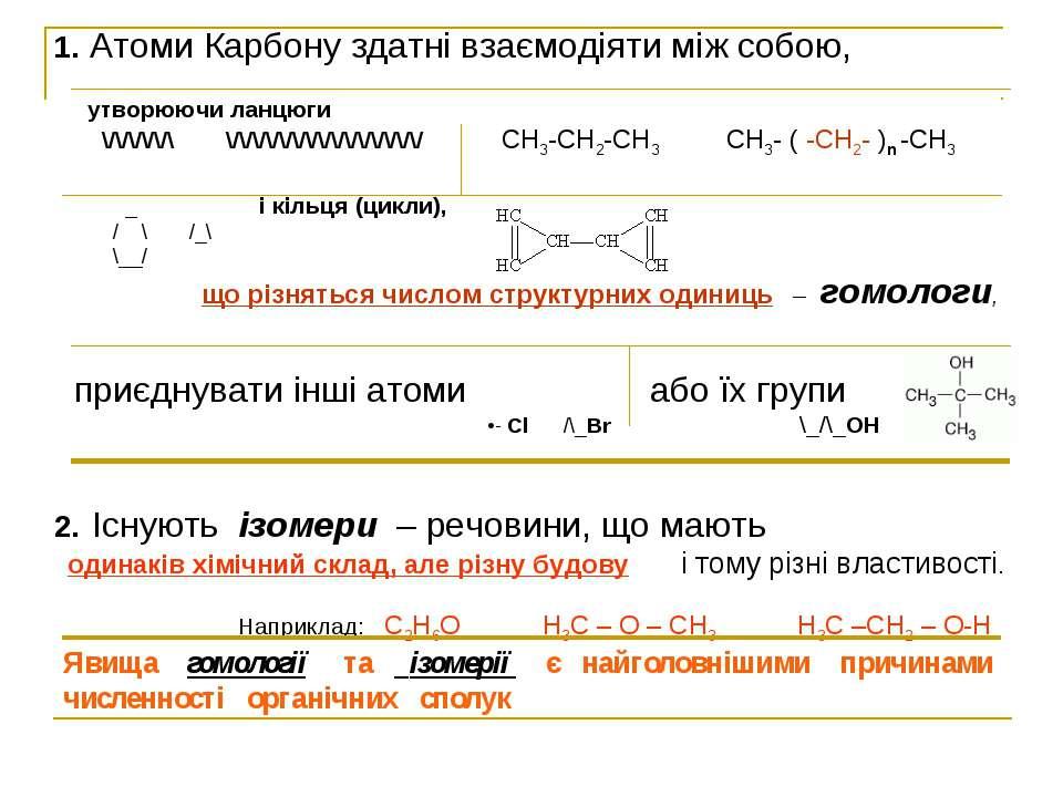 1. Атоми Карбону здатні взаємодіяти між собою, утворюючи ланцюги \/\/\/\/\/\ ...