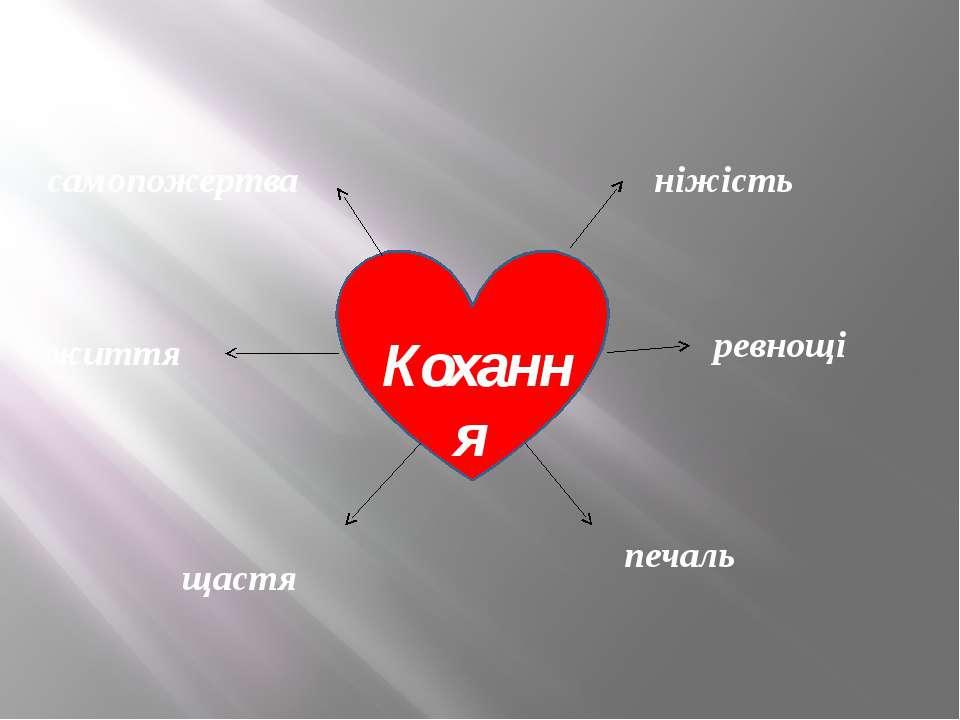 Кохання ніжість ревнощі самопожертва життя щастя печаль