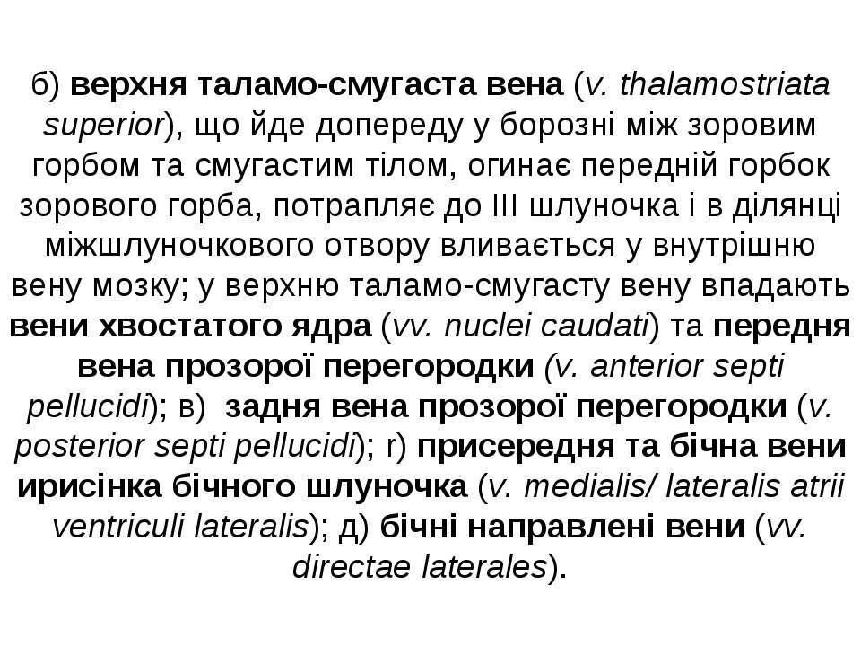 б) верхня таламо-смугаста вена (v. thalamostriata superior), що йде допереду ...
