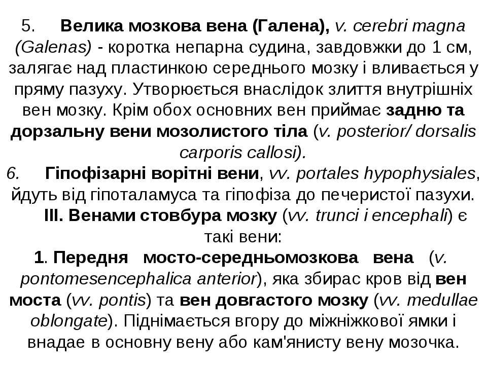 5. Велика мозкова вена (Галена), v. cerebri magna (Galenas) - коротка непарна...