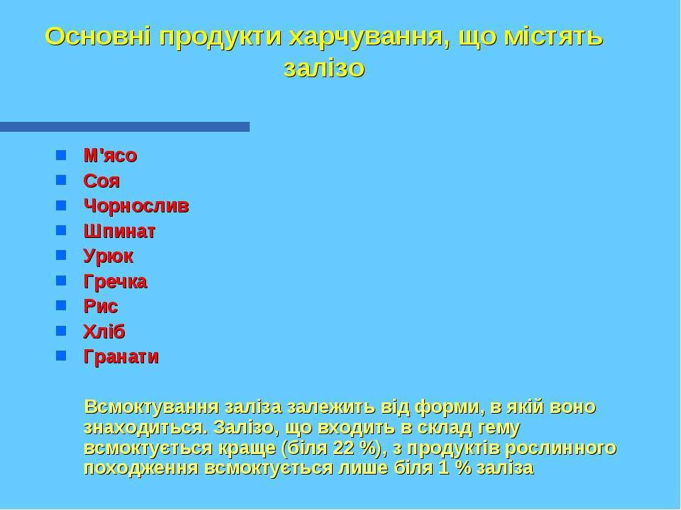 Основні продукти харчування, що містять залізо М'ясо Соя Чорнослив Шпинат Урю...
