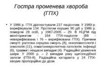 Гостра променева хвороба (ГПХ) У 1986 р. ГПХ діагностували 237 пацієнтам. У 1...