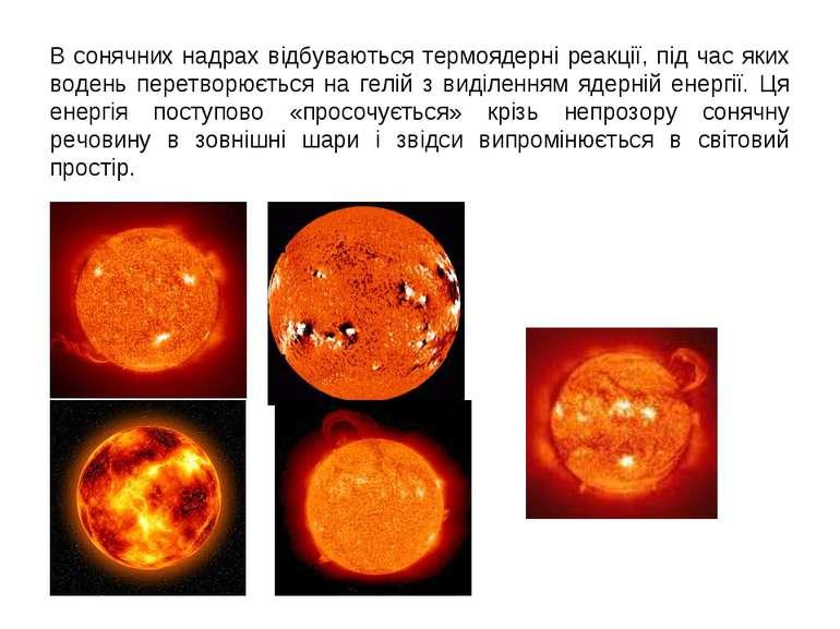В сонячних надрах відбуваються термоядерні реакції, під час яких водень перет...