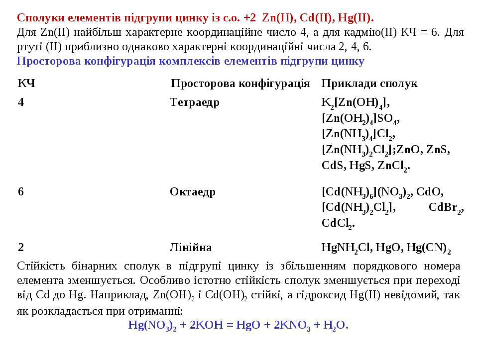 Сполуки елементів підгрупи цинку із с.о. +2 Zn(II), Cd(II), Hg(II). Для Zn(II...