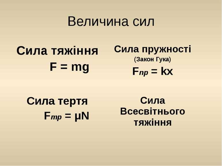 Величина сил Сила тяжіння F = mg Сила пружності (ЗаконГука) Fnp=kx Сила тертя...