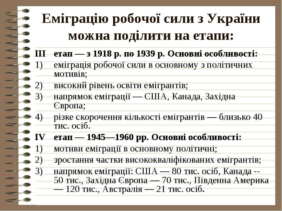 Еміграцію робочої сили з України можна поділити на етапи:IIIетап — з 1918 р. ...