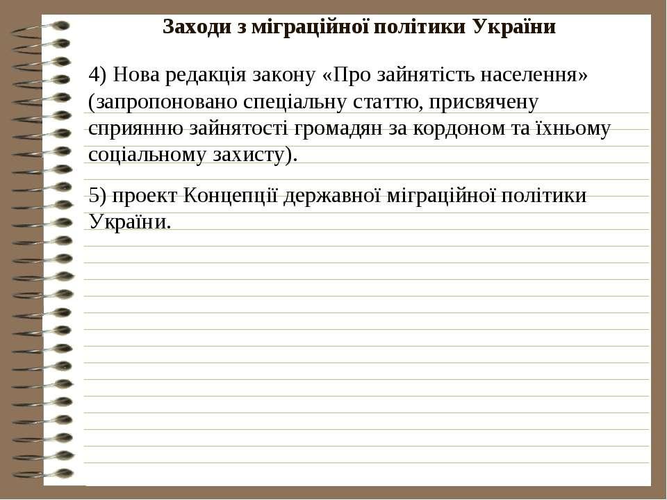 Заходи з міграційної політики України
