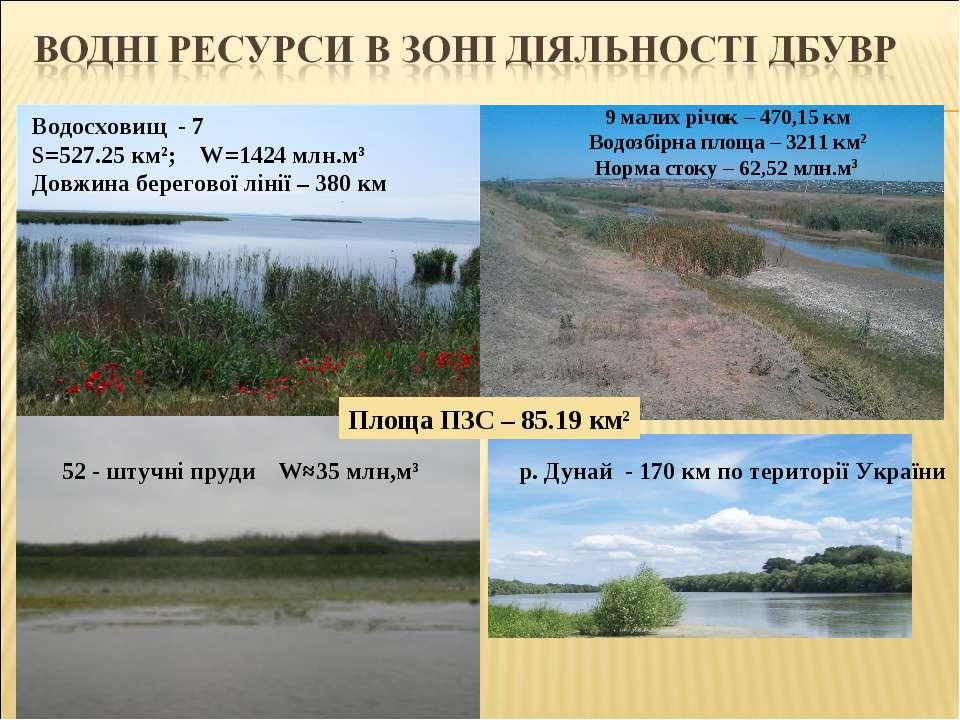 Водосховищ - 7 S=527.25 км²; W=1424 млн.м³ Довжина берегової лінії – 380 км 9...