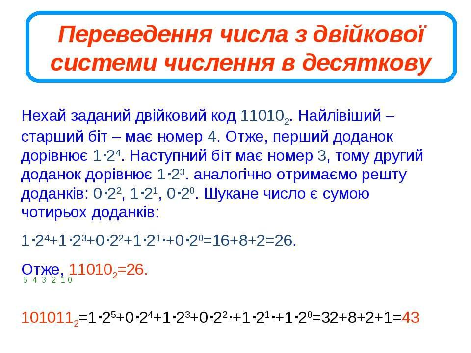 Переведення числа з двійкової системи числення в десяткову Нехай заданий двій...