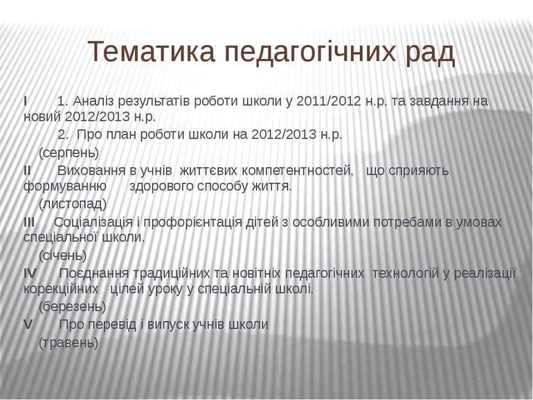 Тематика педагогічних рад I 1. Аналіз результатів роботи школи у 2011/2012 н....