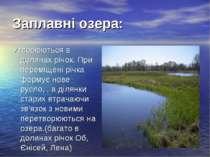 Заплавні озера: Утворюються в долинах річок. При переміщені річка формує нове...