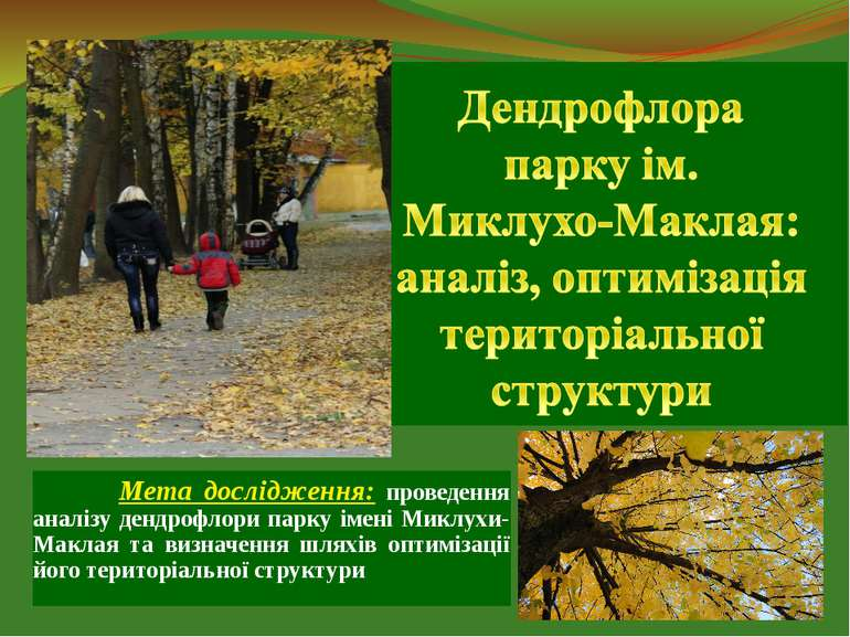 Мета дослідження: проведення аналізу дендрофлори парку імені Миклухи-Маклая т...