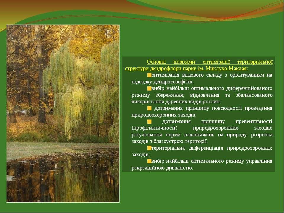 Основні шляхами оптимізації територіальної структури дендрофлори парку ім. Ми...