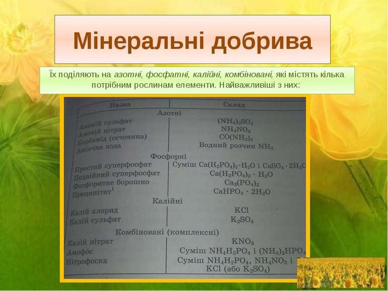 Мінеральні добрива Їх поділяють на азотні, фосфатні, калійні, комбіновані, як...