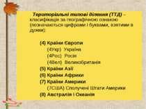 Територіальні типові ділення (ТТД) – класифікація за географічною ознакою (по...