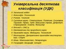 Універсальна десяткова класифікація (УДК) 0 Загальний відділ 1 Філософія. Пси...