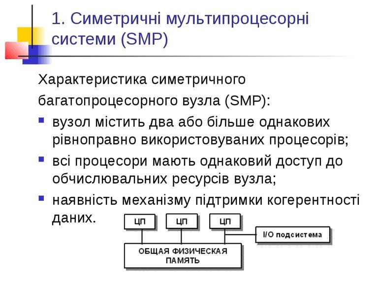1. Симетричні мультипроцесорні системи (SMP) Характеристика симетричного бага...