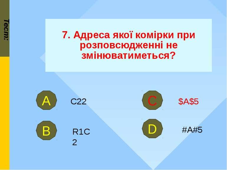 Тест: 7. Адреса якої комірки при розповсюдженні не змінюватиметься? R1C2 В С ...