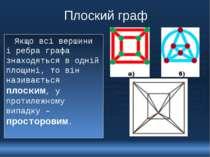 Плоский граф Якщо всі вершини і ребра графа знаходяться в одній площині, то в...