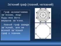 Зв'язний граф (повний, неповний) Граф називатимемо зв'язним, якщо будь-яка йо...
