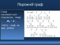 Порожній граф Граф називається порожнім, якщо , тобто граф не має ребер 10110...