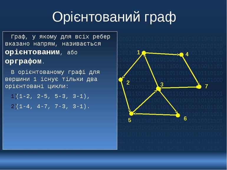 Орієнтований граф Граф, у якому для всіх ребер вказано напрям, називається ор...