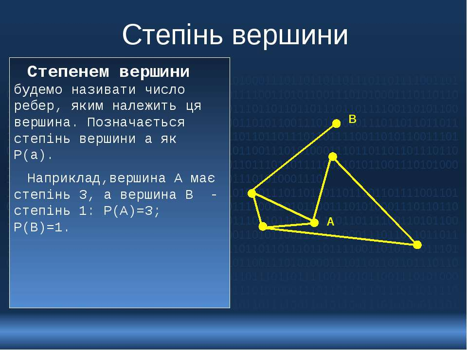 Степінь вершини Степенем вершини будемо називати число ребер, яким належить ц...