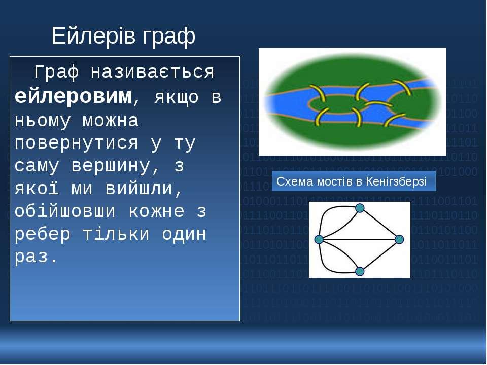 Ейлерів граф Граф називається ейлеровим, якщо в ньому можна повернутися у ту ...