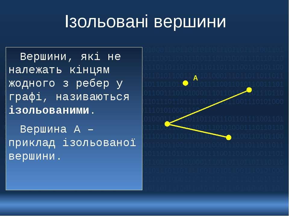 Ізольовані вершини Вершини, які не належать кінцям жодного з ребер у графі, н...