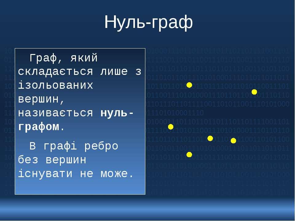 Нуль-граф Граф, який складається лише з ізольованих вершин, називається нуль-...