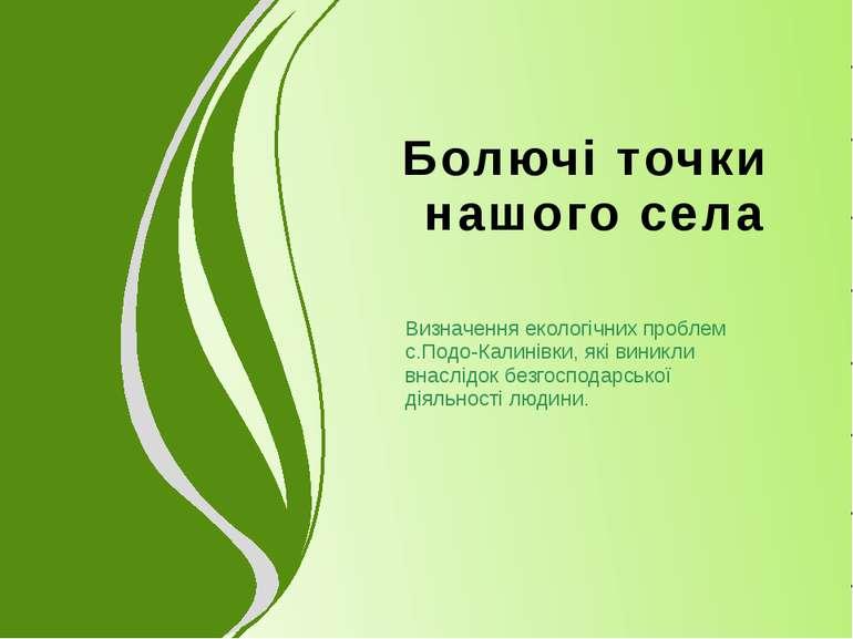 Болючі точки нашого села Визначення екологічних проблем с.Подо-Калинівки, які...