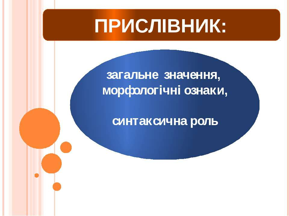 ПРИСЛІВНИК: загальне значення, морфологічні ознаки, синтаксична роль Урок вив...