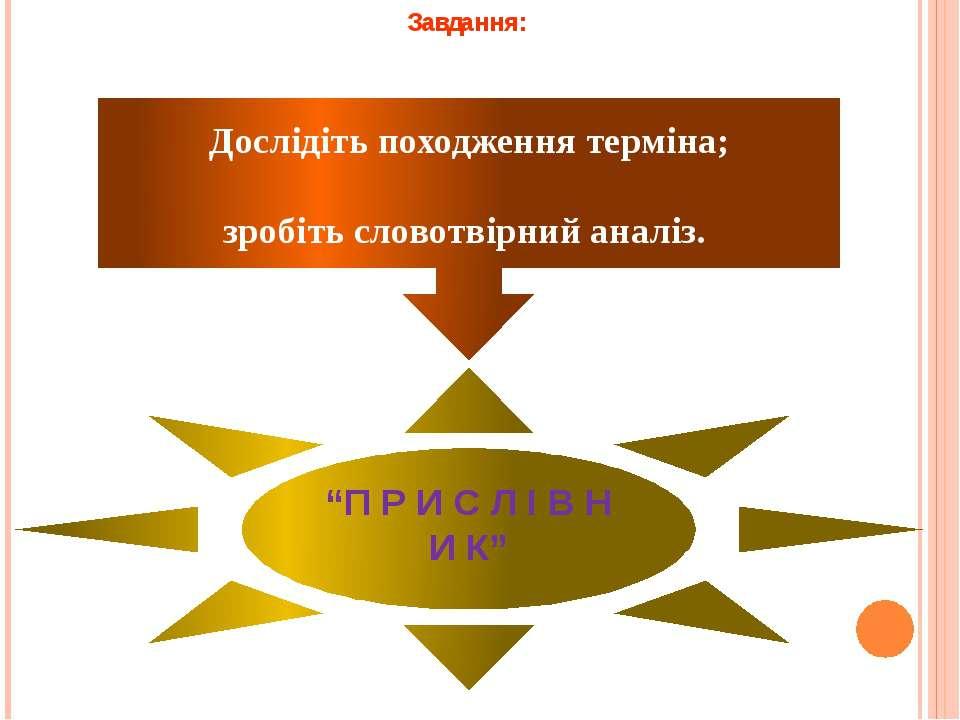"""Завдання: Дослідіть походження терміна; зробіть словотвірний аналіз. """"П Р И С..."""
