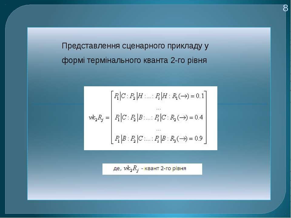 8 Представлення сценарного прикладу у формі термінального кванта 2-го рівня
