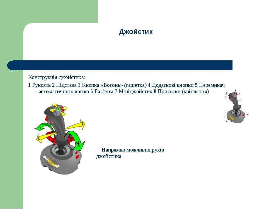 Конструкція джойстика: 1 Рукоять 2 Підстава 3 Кнопка «Вогонь» (гашетка) 4 Дод...