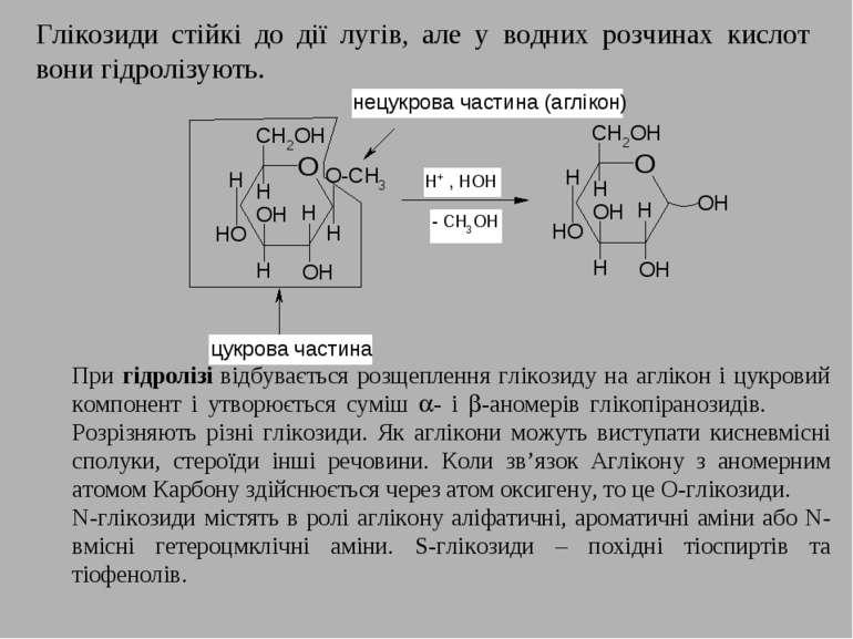 Глікозиди стійкі до дії лугів, але у водних розчинах кислот вони гідролізують...