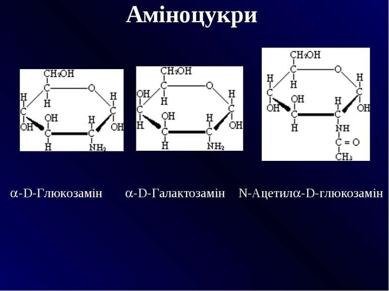 Аміноцукри  -D-Глюкозамін -D-Галактозамін N-Ацетил -D-глюкозамін