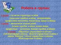 Робота в групах: 1 група – скласти структуру освіти (загальна середня освіта,...