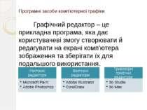 Програмні засоби комп'ютерної графіки Графічний редактор – це прикладна прогр...