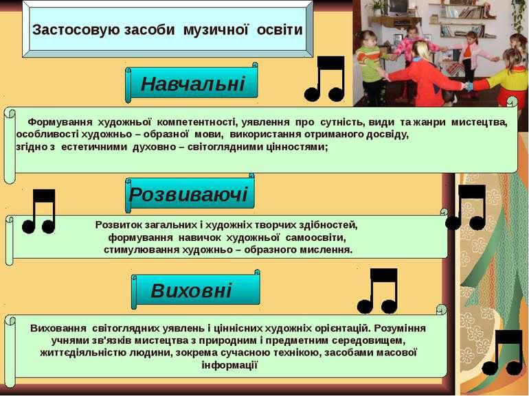 Застосовую засоби музичної освіти Формування художньої компетентності, уявлен...