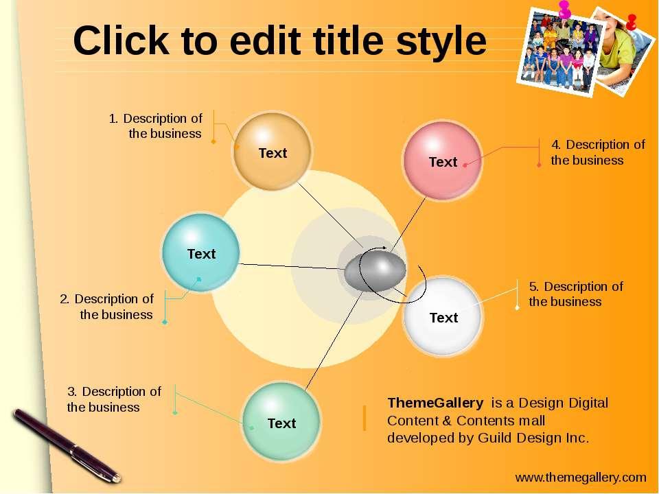 Click to edit title style 4. Description of the business 5. Description of th...